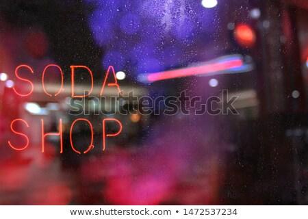 Neon lichten Blur sandwiches wazig fastfood restaurant Stockfoto © Ximinez