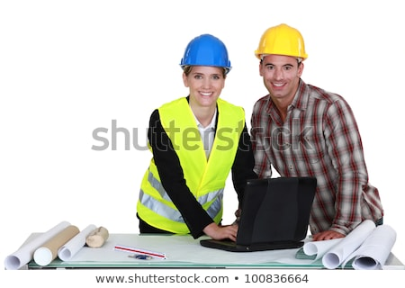 Traffic guard consulting with a draughtsman Stock photo © photography33