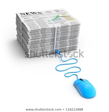 Stock photo: Business newspaper and mouse