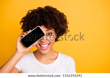 curly young girl she hide a gift Stock photo © balasoiu