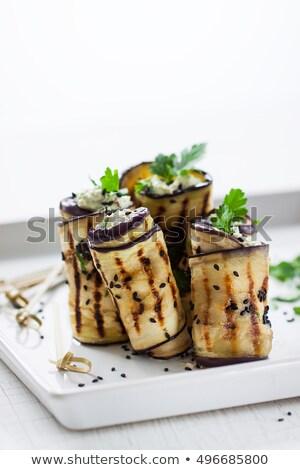 Stock fotó: Padlizsán · tekert · sajt · szakács · zöldség · ebéd