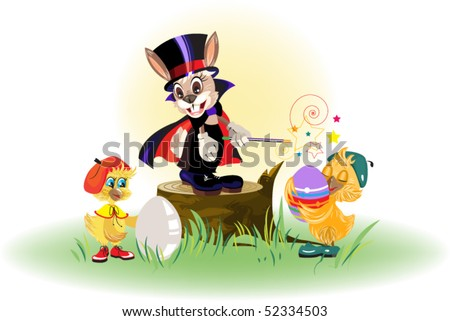 Rabbit magician and chickens dyed eggs for Easter Stock photo © orensila