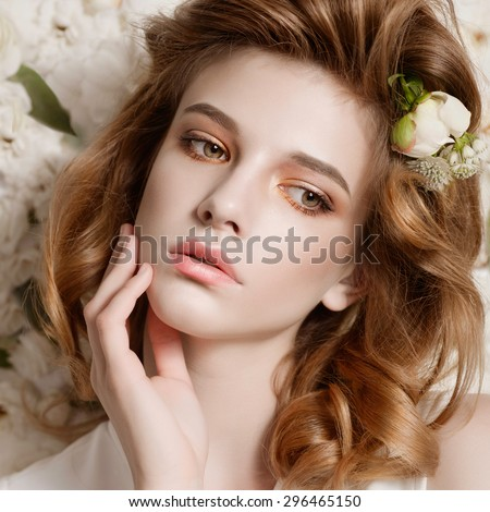 Attractve delicate brunete beauty portrait. Stock photo © oleanderstudio