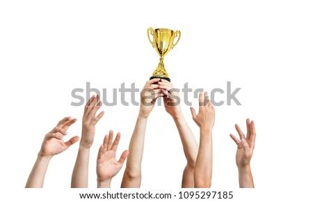 mão · ouro · troféu · vetor · esportes - foto stock © m_pavlov