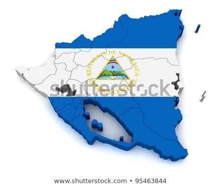 Mapa Nicarágua 3D forma azul Foto stock © NiroDesign