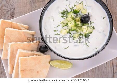 yoghurt · saus · pita · brood · ontbijt · Grieks - stockfoto © m-studio