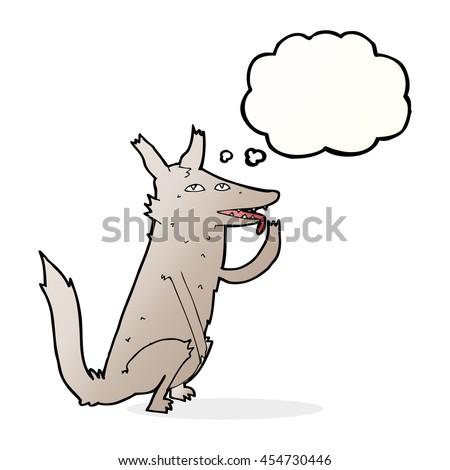 Cartoon loup patte bulle de pensée main design Photo stock © lineartestpilot