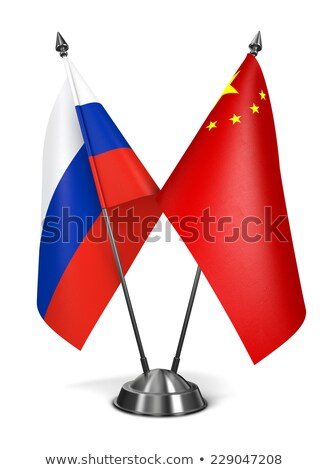 Russie république Chine miniature drapeaux isolé Photo stock © tashatuvango