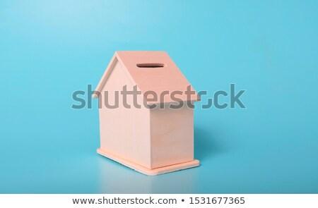 Kék ház pénz doboz fehér érme Stock fotó © jarin13