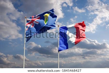 Franciaország szigetek zászlók puzzle izolált fehér Stock fotó © Istanbul2009