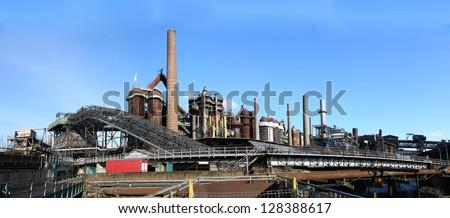 Panoráma vasgyár fém vonat kék ipar Stock fotó © meinzahn
