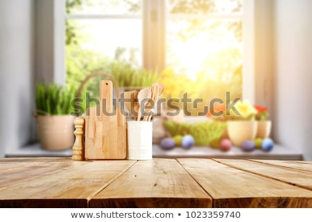Happy on wooden table Stock photo © fuzzbones0