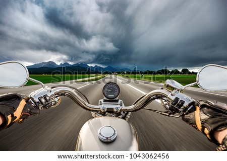 Motorcyclist hurtling on the motorbike Stock photo © bezikus