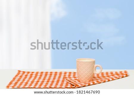 Tela servilleta blanco madera espátula Foto stock © tab62