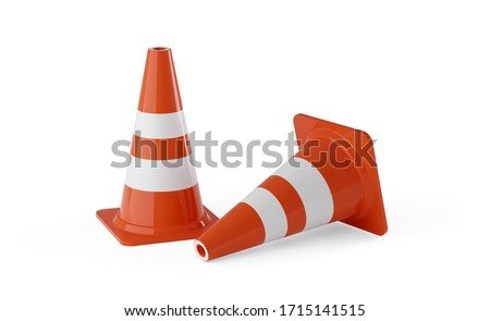 traffic cones on white background 3d rendering stock photo © user_11870380