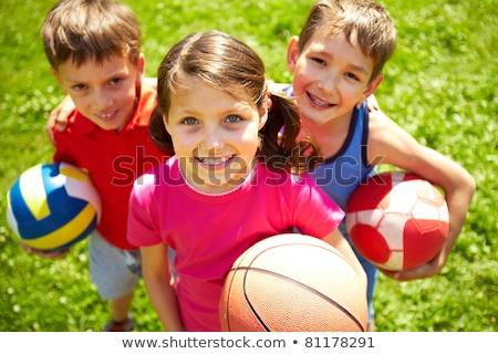 Stock fotó: Boldog · gyerek · sportok · kosárlabda · gyerekek · gyerekek