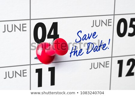 Wall calendar with a red pin - June 04 Stock photo © Zerbor