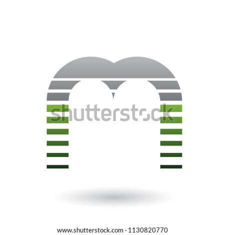 Black and Green Letter M Icon with Horizontal Stripes Vector Ill Stock photo © cidepix