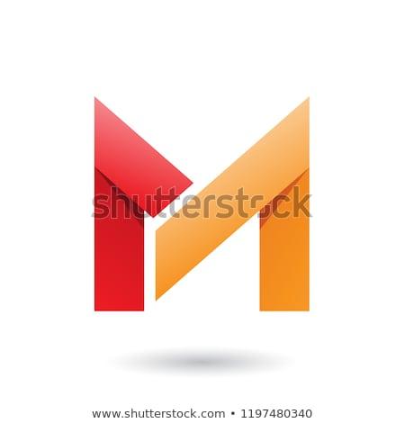red and orange folded paper letter m vector illustration stock photo © cidepix