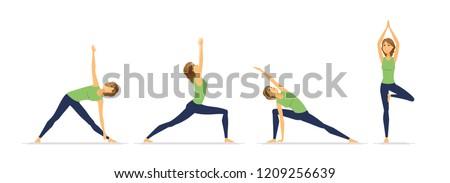 güzel · bir · kadın · yoga · kız · güneş · spor · vücut - stok fotoğraf © decorwithme