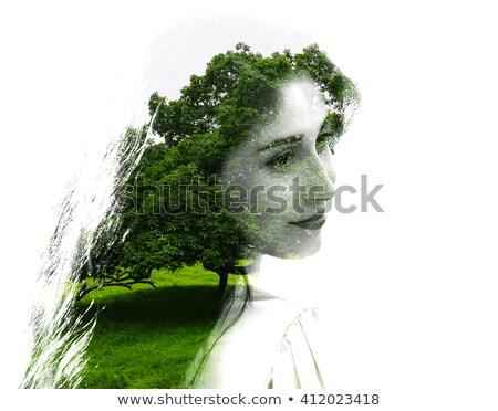 Dziewczyna drzewo włosy podwoić ekspozycja lasu Zdjęcia stock © alphaspirit