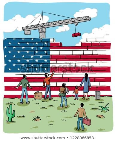 Personnes USA mur pavillon fond signe Photo stock © doomko