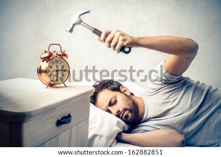 Man trying to wake up in the morning Stock photo © tommyandone