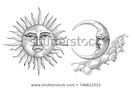 Vintage moon face illustration Stock photo © abdulsatarid