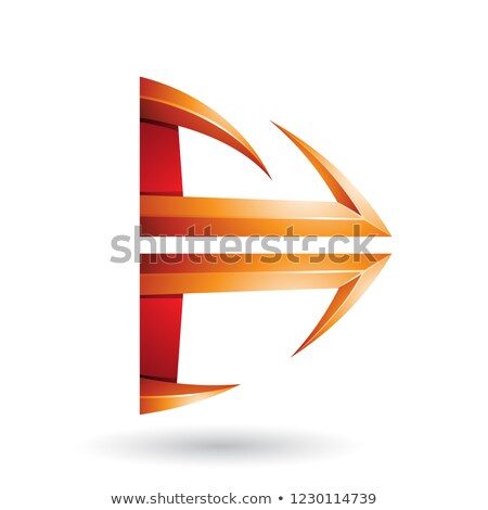 Red and Orange Glossy Embossed Arrow Shape Vector Illustration Stock photo © cidepix