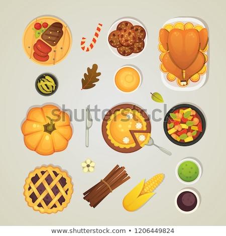 Pumpkin and Thanksgiving Food Plates Set Vector Stock photo © robuart