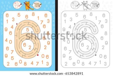 Schrijven aantal zes kunst tekening grafische Stockfoto © colematt