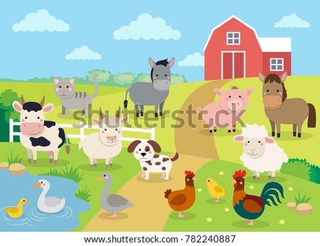 Diseno granero ilustración fondo blanco animales Foto stock © colematt
