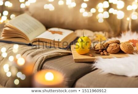 Limoni libro mandorla cookies divano Foto d'archivio © dolgachov