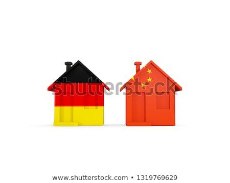 Zdjęcia stock: Dwa · domów · flagi · Chiny · Niemcy · odizolowany
