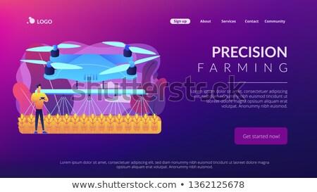 Mezőgazdaság leszállás oldal okos gazda locsol Stock fotó © RAStudio