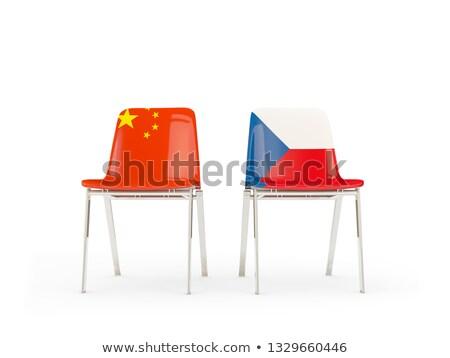 Dos sillas banderas China República Checa aislado Foto stock © MikhailMishchenko