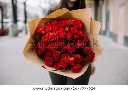 Close up of huge and elegant bouquet of red roses.  Stock photo © studiolucky