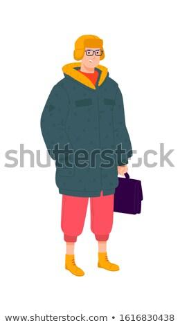 Zöld ruházat szemüveg szett fiú jókedv Stock fotó © toyotoyo