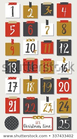 Advenimiento calendario etiquetas elementos árbol Foto stock © marish