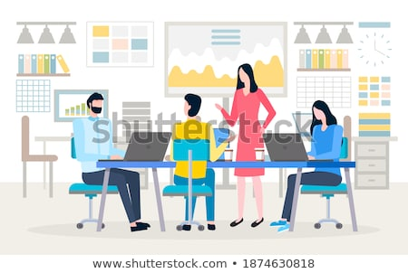 man communication with pc chart board vector stock photo © robuart