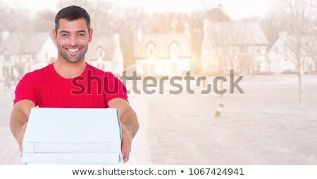 Futár pizza homályos lakásügy birtok digitális kompozit Stock fotó © wavebreak_media