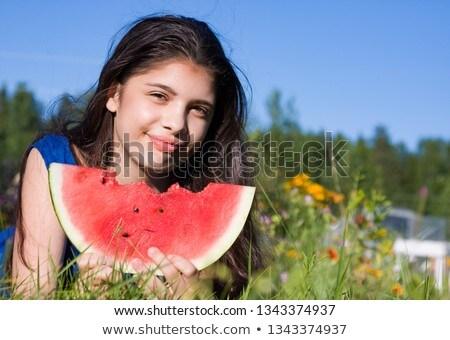 Stock fotó: Tinilányok · eszik · görögdinnye · piknik · park · szabadidő