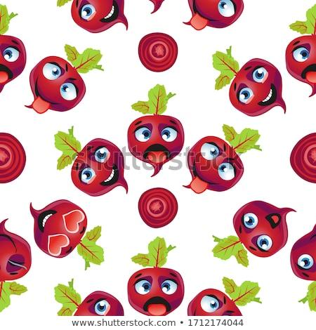 Cute seamless pattern with cartoon emoji beetroot Stock photo © Natalia_1947