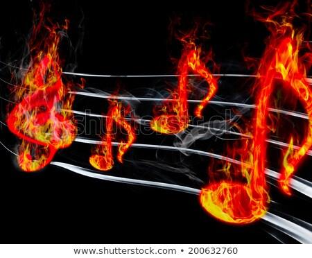 Vurig musical sleutel Rood vlam Stockfoto © blackmoon979
