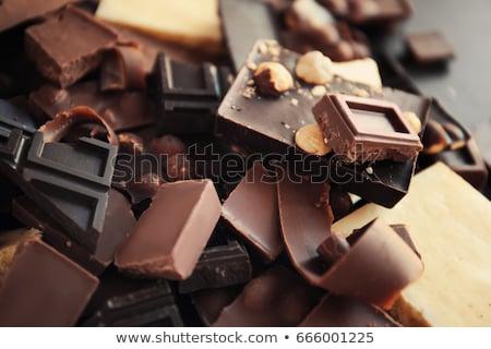 Halom törött sötét tej csokoládé rácsok Stock fotó © marylooo