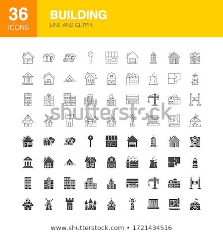 Building Line Web Glyph Icons Stock photo © Anna_leni