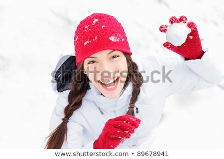 Inverno menina bola de neve câmera sorridente Foto stock © galitskaya
