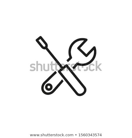Franciakulcs ikon egyszerű csavarkulcs javítás karbantartás Stock fotó © supertrooper