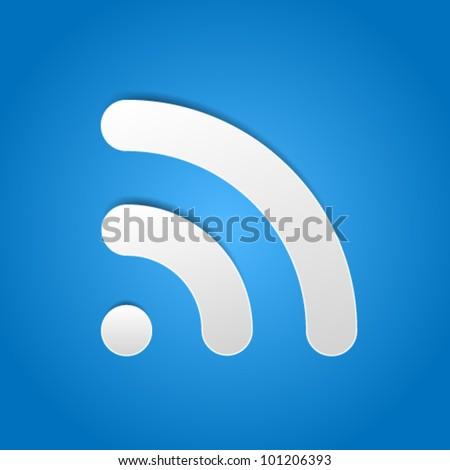 Blu rss lucido pulsante isolato bianco Foto d'archivio © cidepix