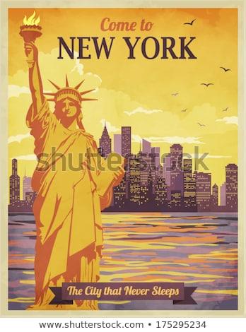 île · New · York · City · USA · bâtiments · bateau · Skyline - photo stock © phbcz